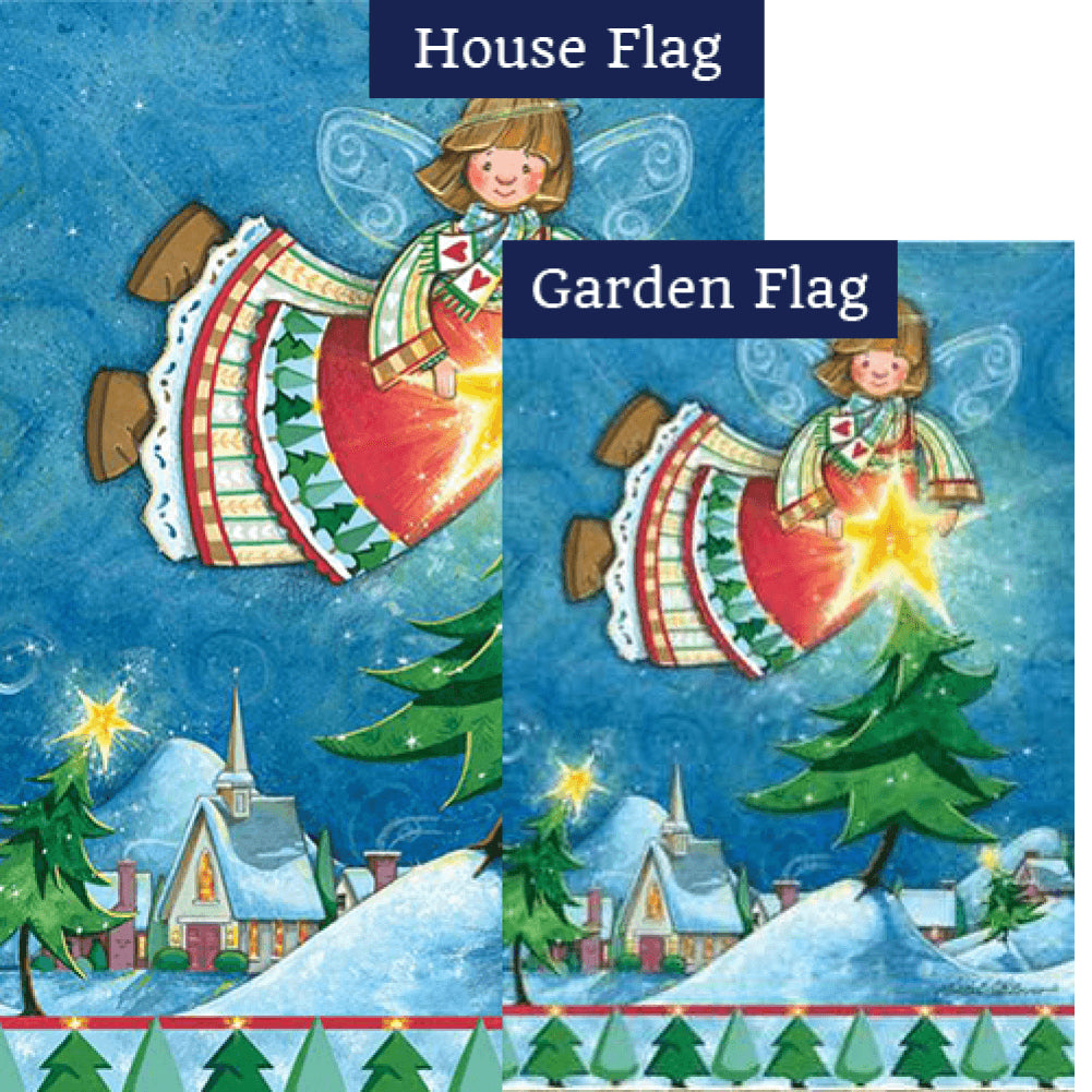 Happy Christmas Angel Illuminated Flags Set (2 Pieces)