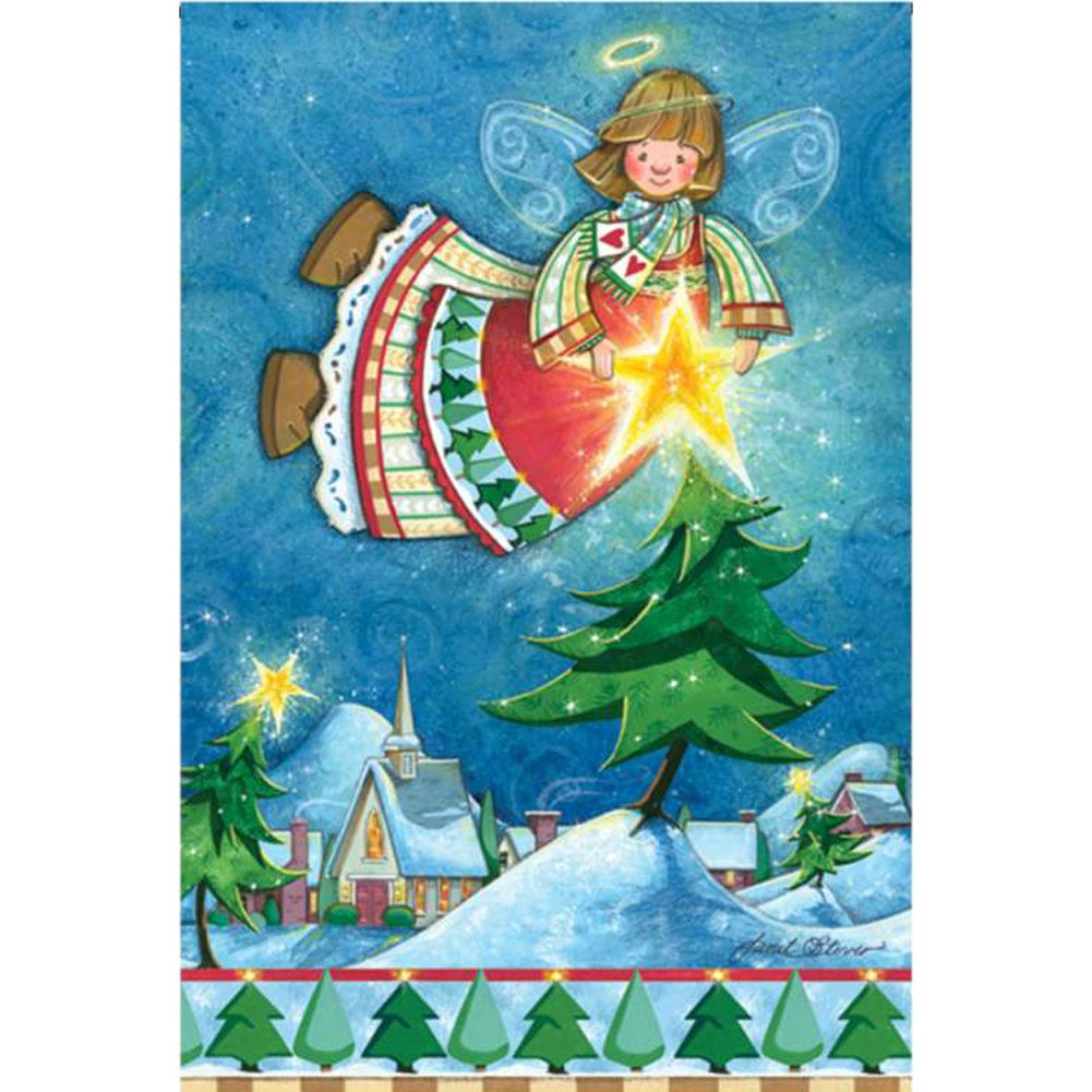 Happy Christmas Angel Illuminated Garden Flag