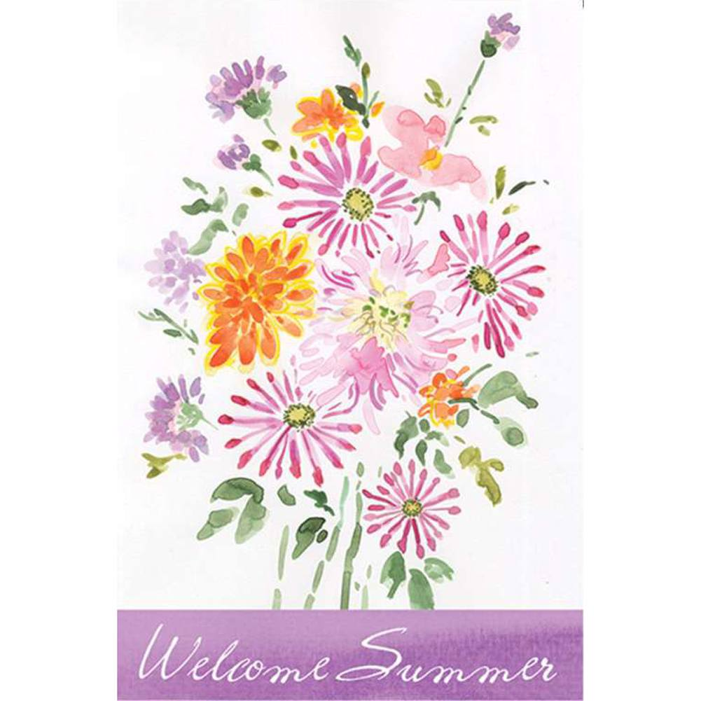 Summer Bouquet Welcome PremierSoft Double Sided Garden Flag