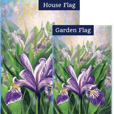 Blue Iris Illuminated Flags Set (2 Pieces)