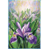 Blue Iris Illuminated Garden Flag