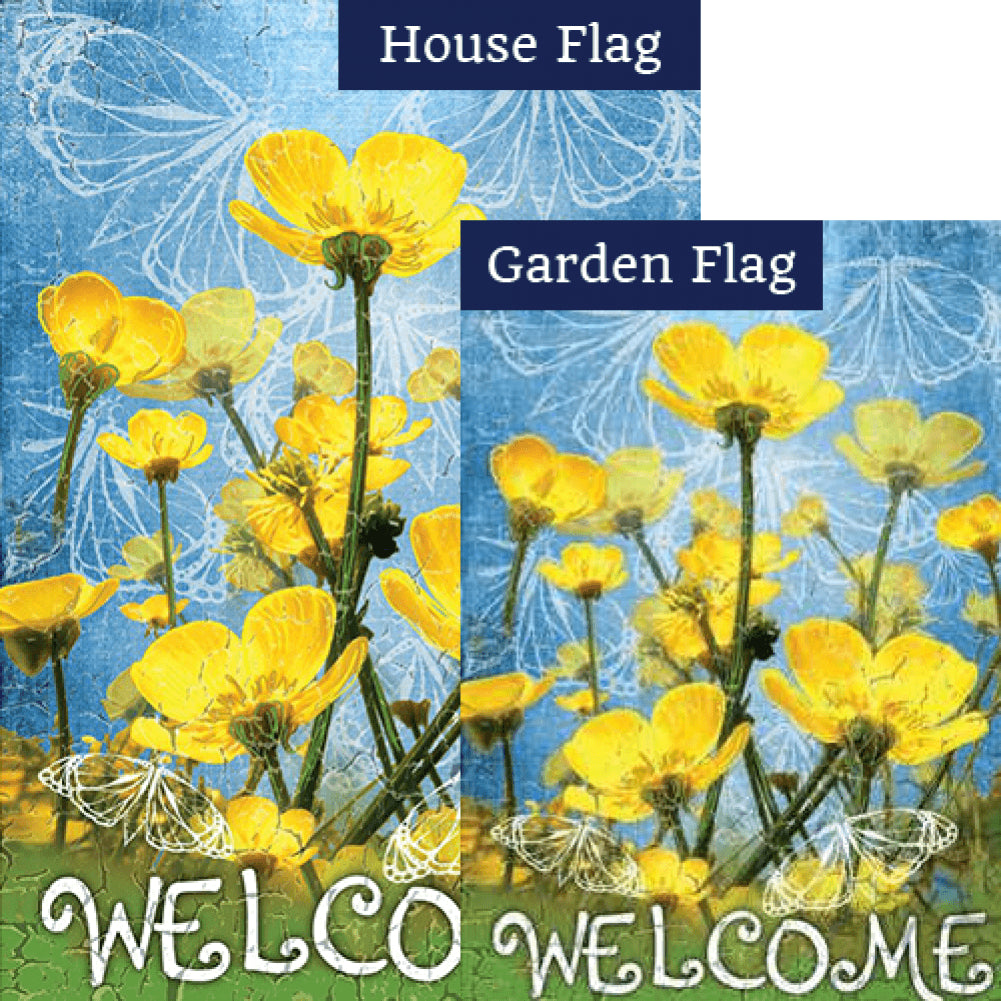 Buttercups Welcome Double Sided PremierSoft Flags Set (2 Pieces)