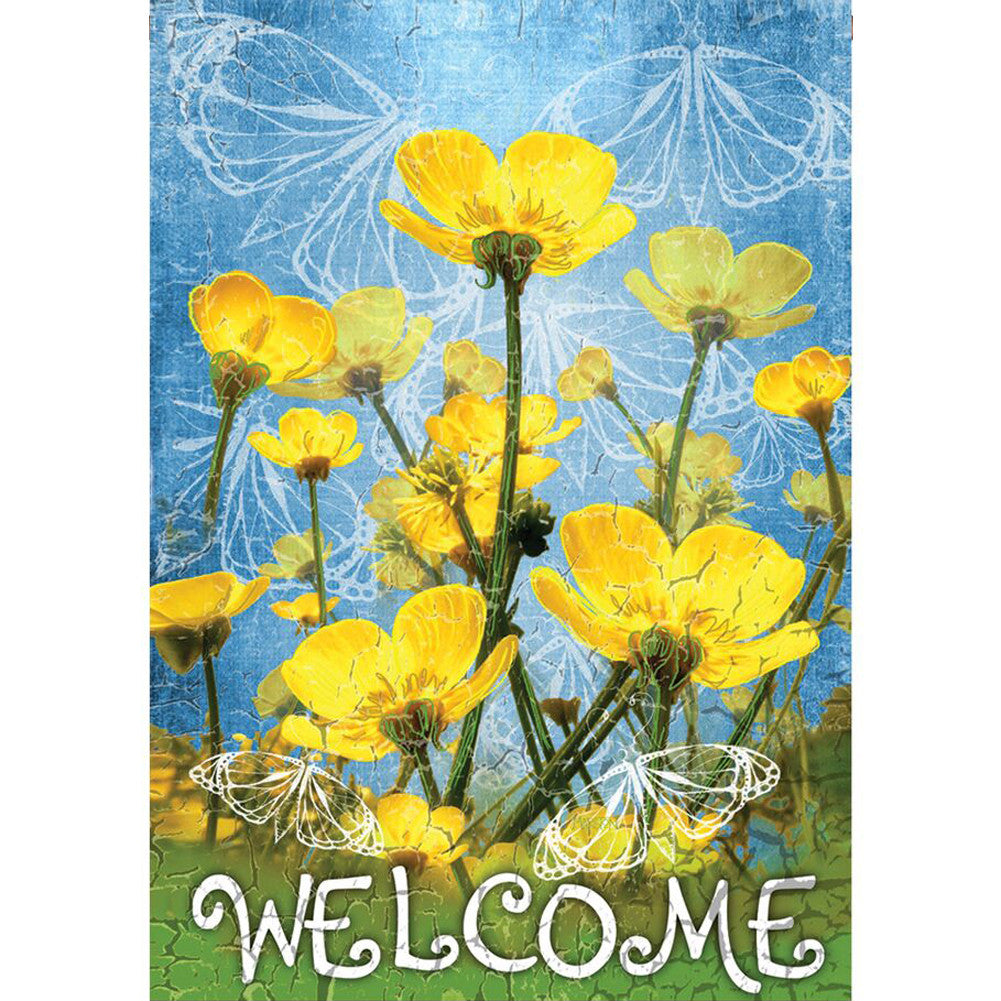 Buttercups Welcome PremierSoft Double Sided Garden Flag