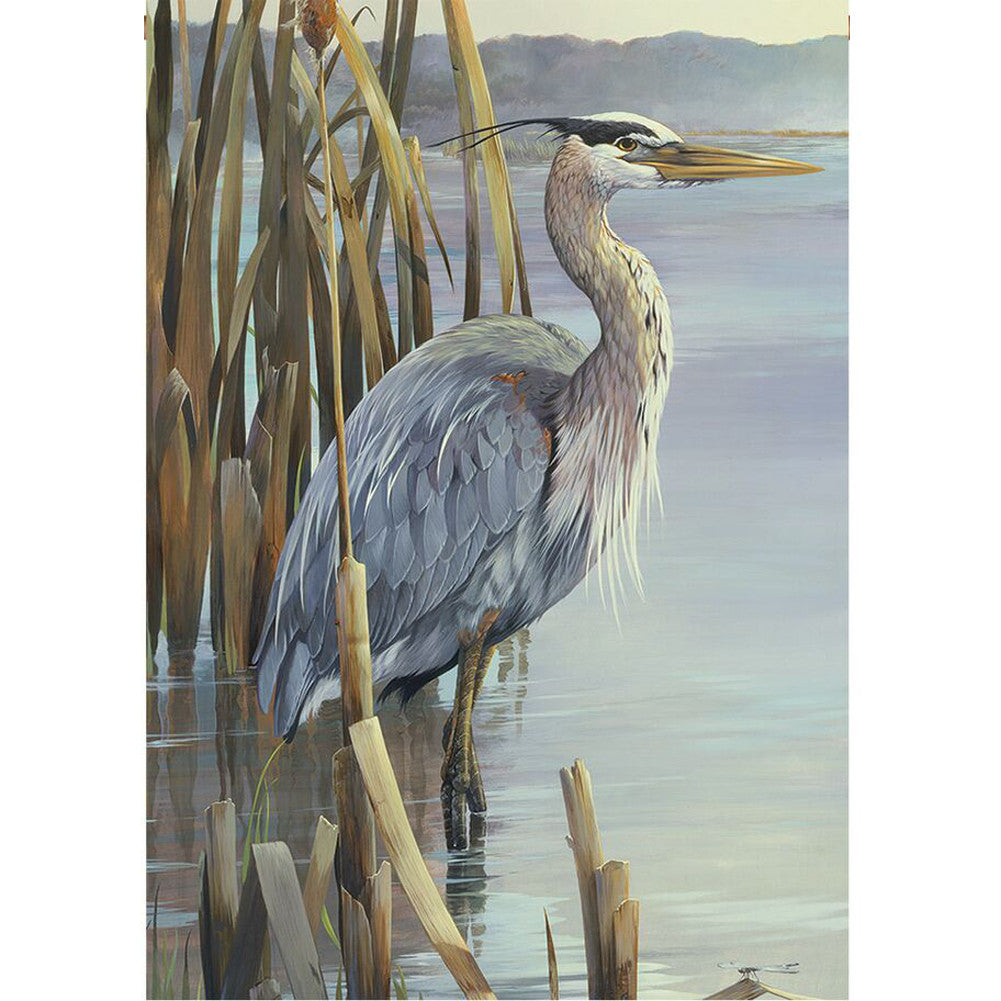Peaceful Blue Heron Illuminated Garden Flag