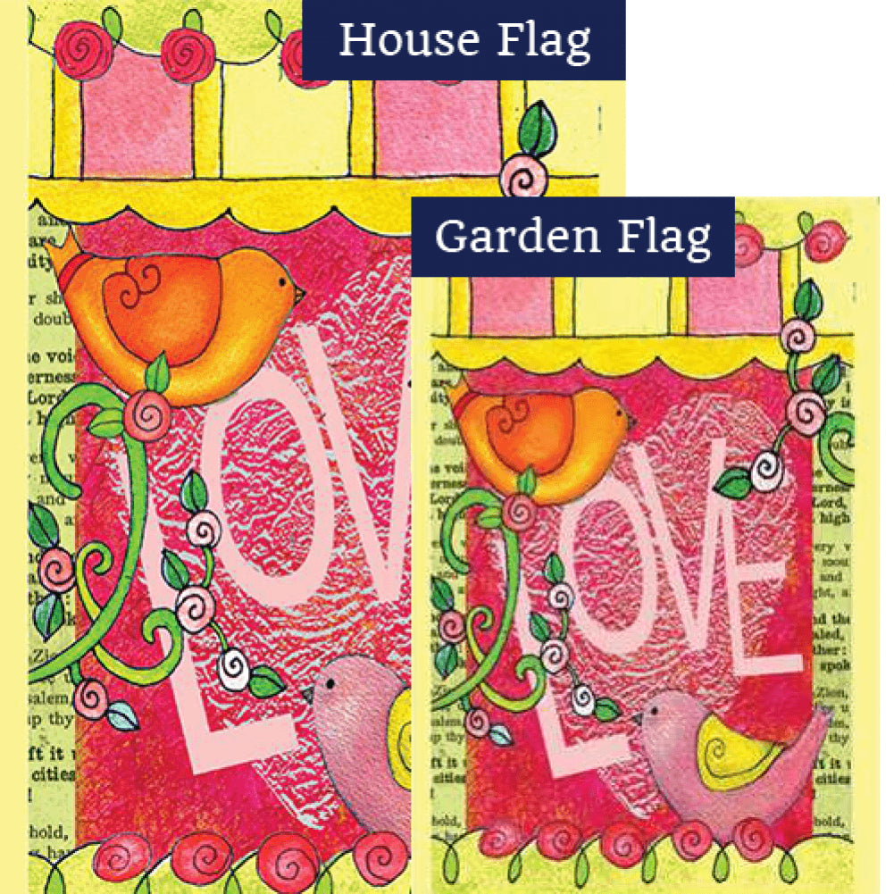 Love Always Birds PremierSoft Double Sided Flags Set (2 Pieces)