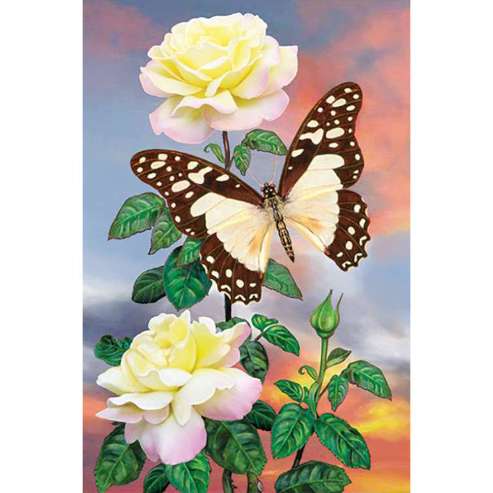 White Lady Swallowtail Illuminated Garden Flag
