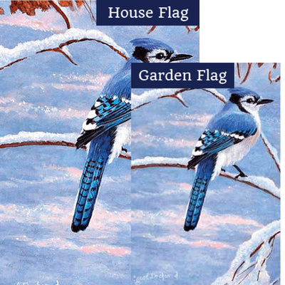 Winter Blue Jay Illuminated Flags Set (2 Pieces)