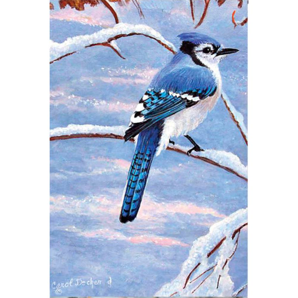 Winter Blue Jay Illuminated Garden Flag
