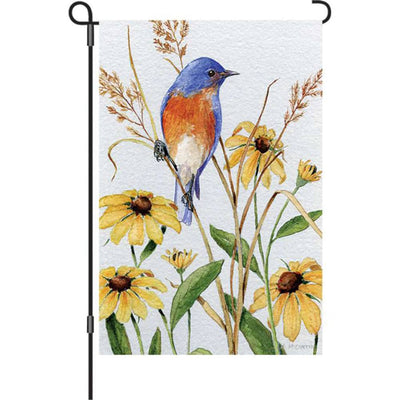 Bluebird and Susies Illuminated Garden Flag