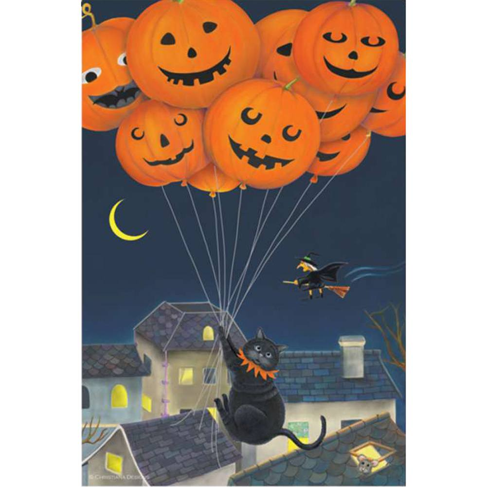 Black Cats With Balloons Illuminated Garden Flag