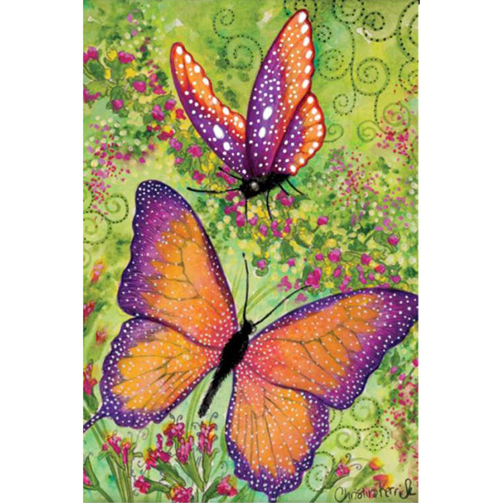 Butterfly Sparkles Illuminated Garden Flag