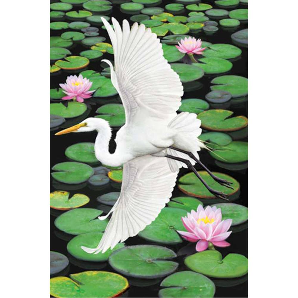 Egret Elegance Illuminated Garden Flag