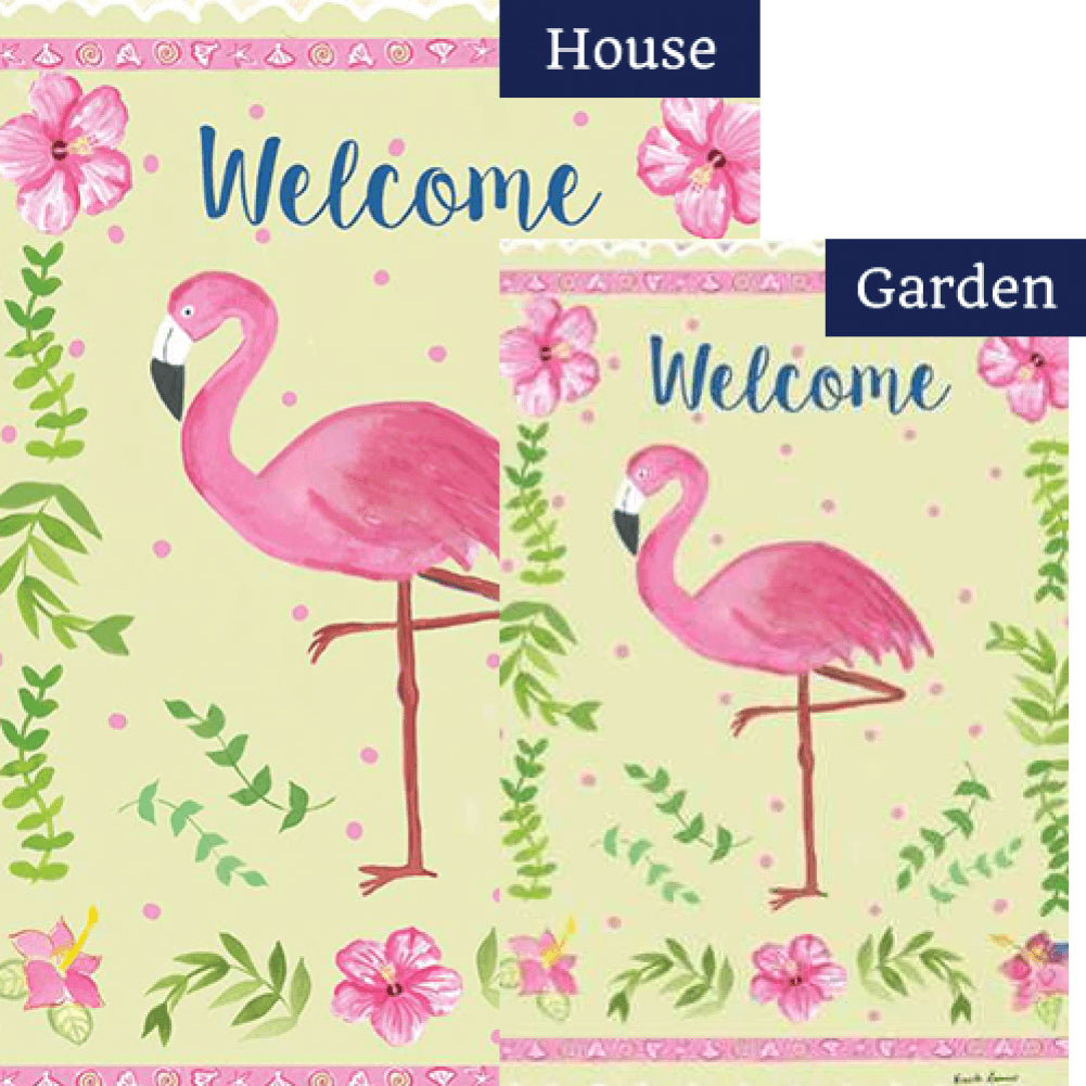 Coastal Flamingo Welcome PremierSoft Double Sided Flags Set (2 Pieces)