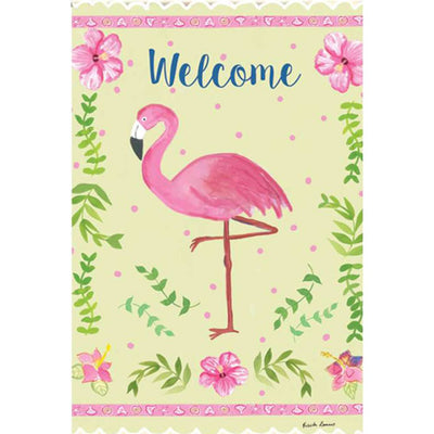 Coastal Flamingo Welcome PremierSoft Double Sided Garden Flag