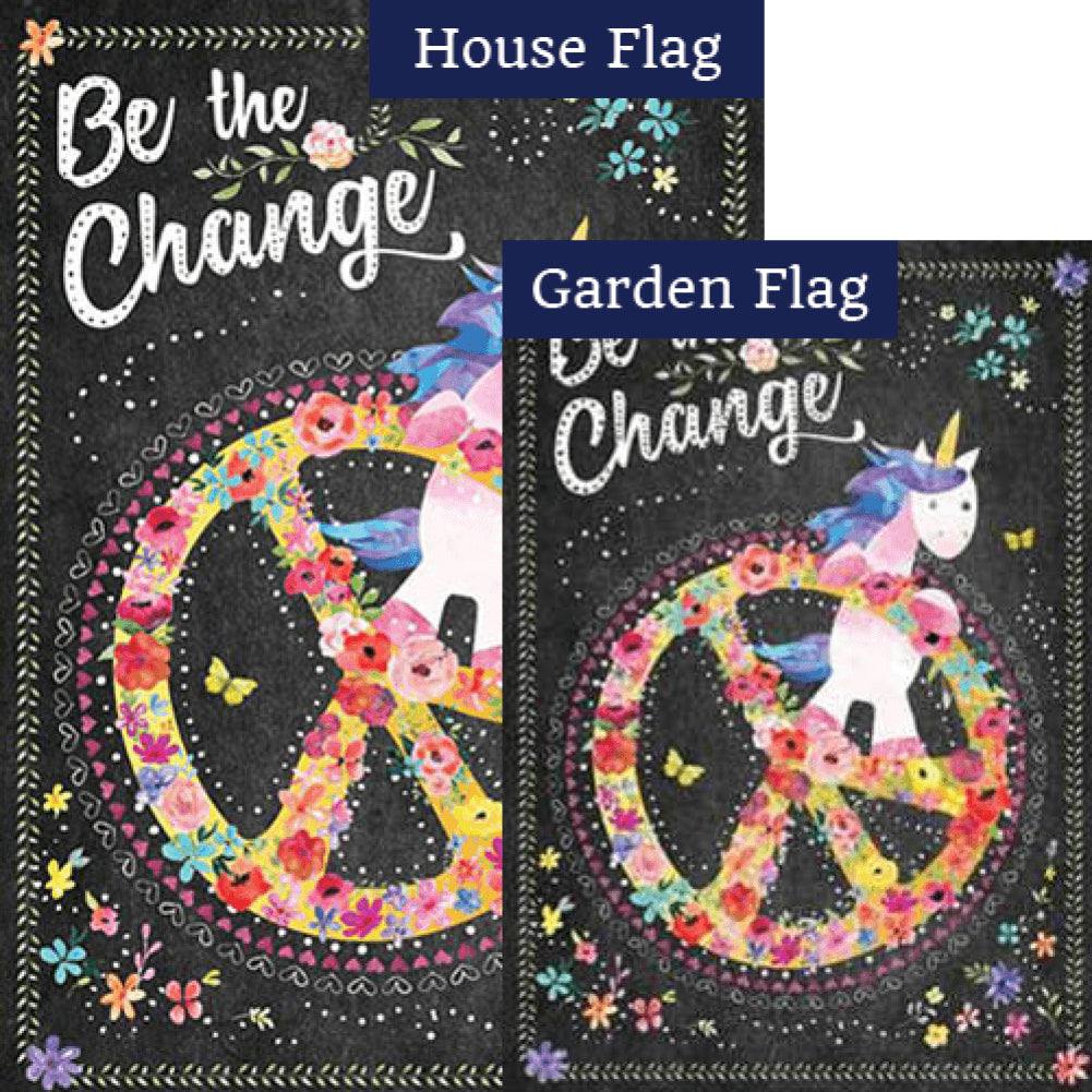 Be The Change Double Sided Flags Set (2 Pieces)