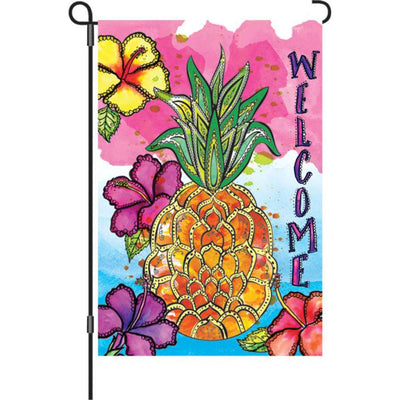 Welcome Pineapple Tropical Illuminated Garden Flag