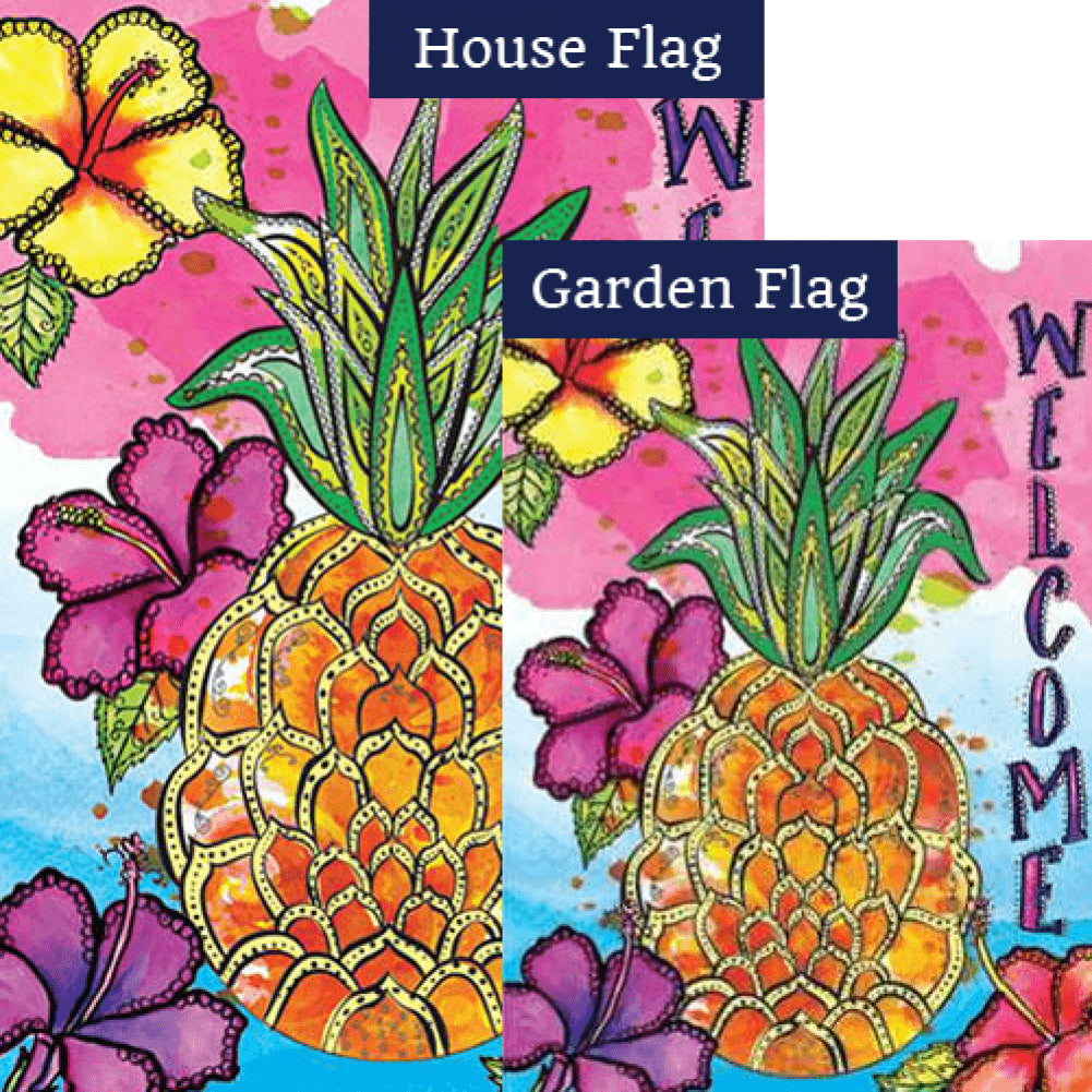 Welcome Pineapple Flags Set (2 Pieces)