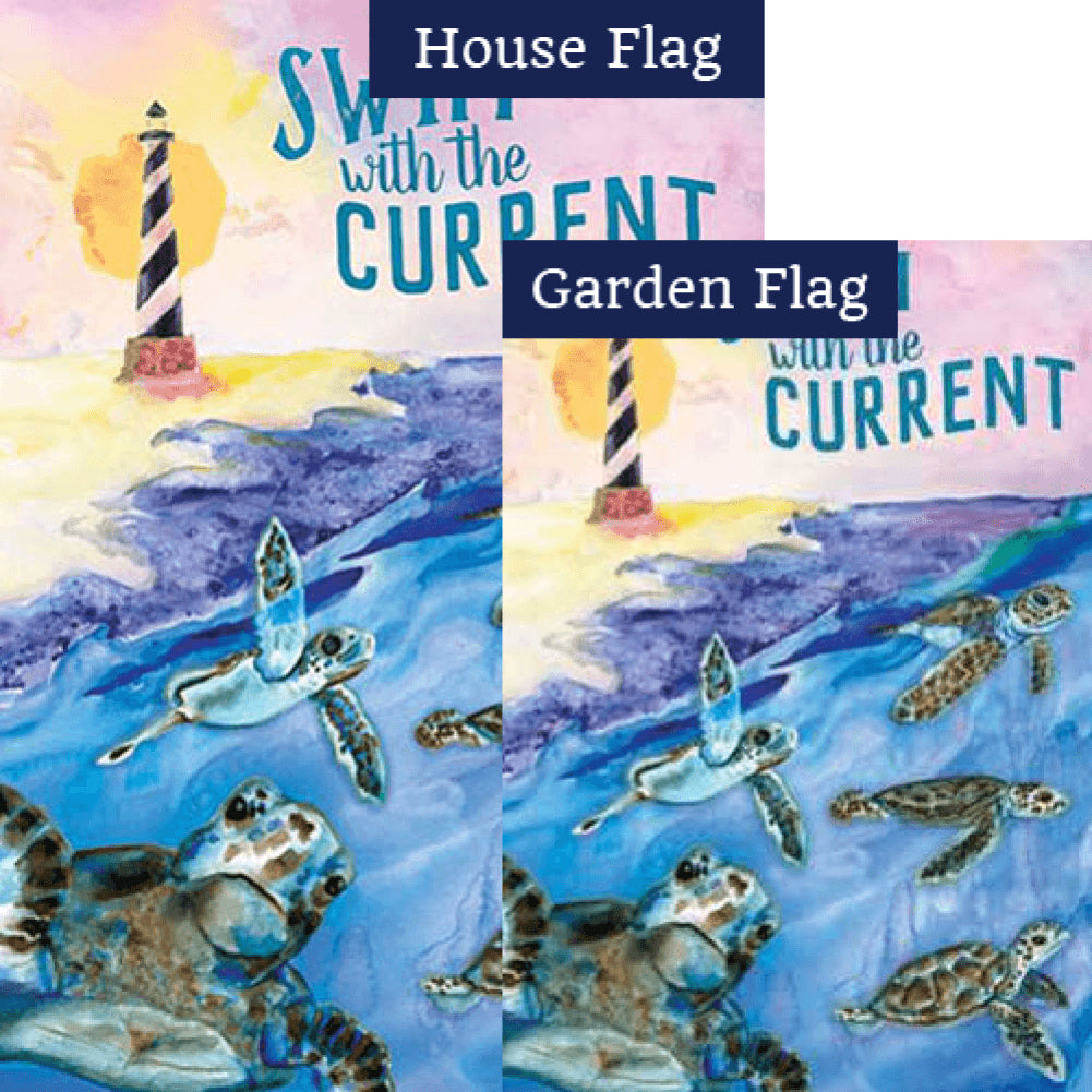 Swim With The Current Double Sided Flags Set (2 Pieces)