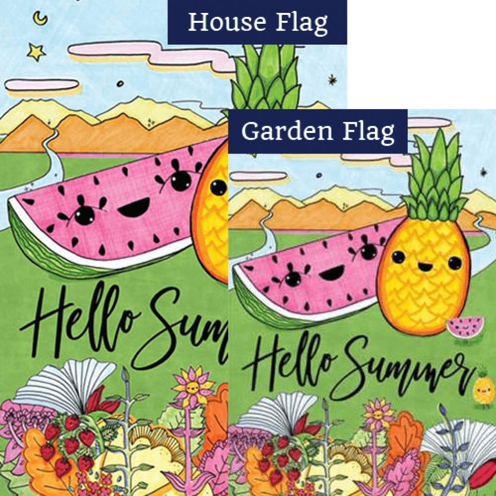 Hello Summer Double Sided Flags Set (2 Pieces)