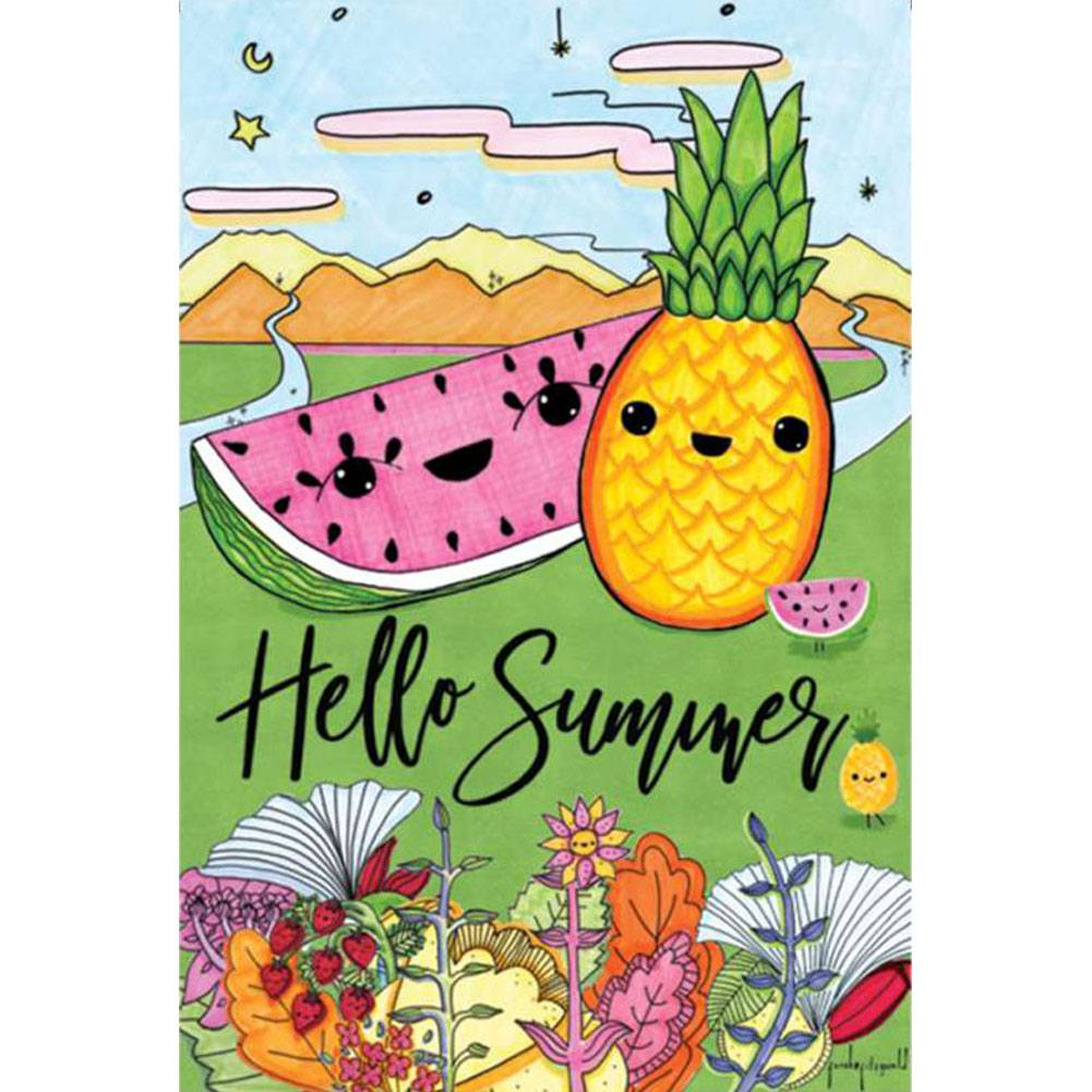 Hello Summer Floral PremierSoft Double Sided Garden Flag