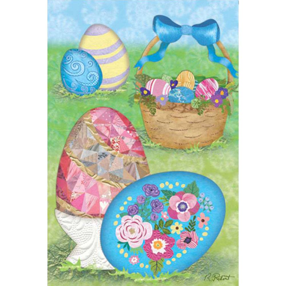 Elegant Easter Eggs Illuminated Garden Flag