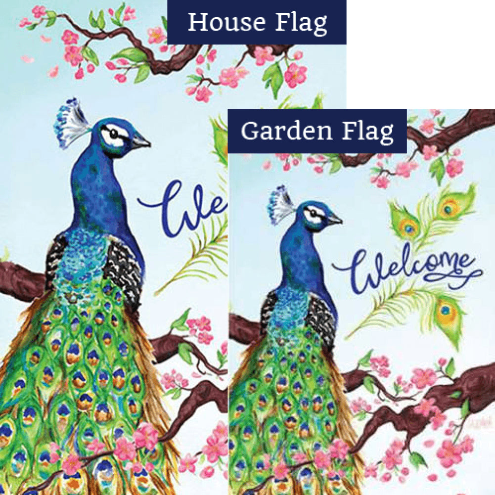 Welcome Peacock Double Sided Flags Set (2 Pieces)
