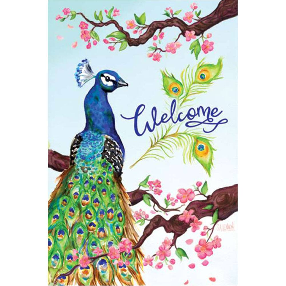 Welcome Peacock PremierSoft Double Sided Garden Flag
