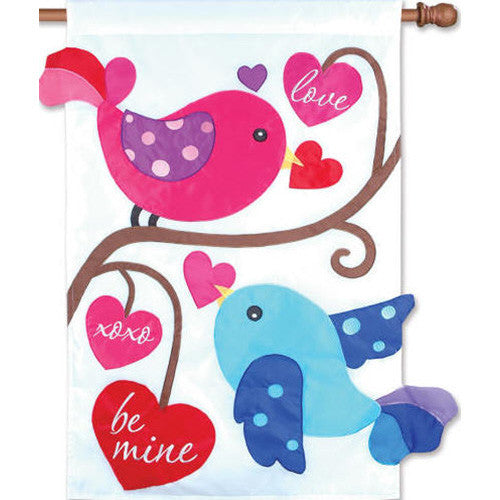 Love Birds Double Appliqued House Flag