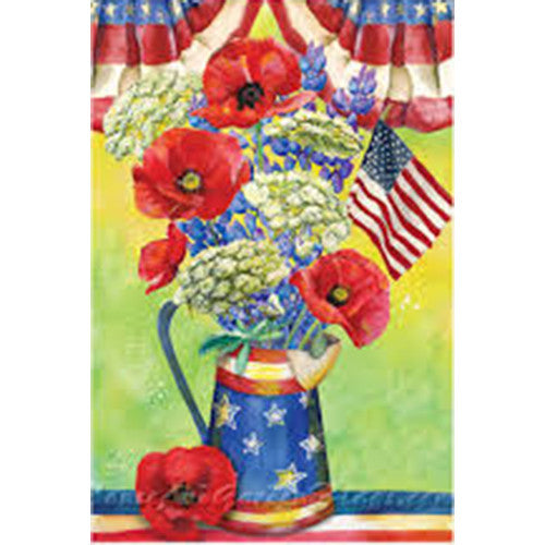 Patriotic Watering Can Bouquet Illuminated House Flag