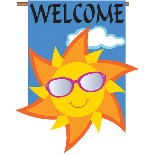 premier welcome sun double appliqued house flag  flagsrus org