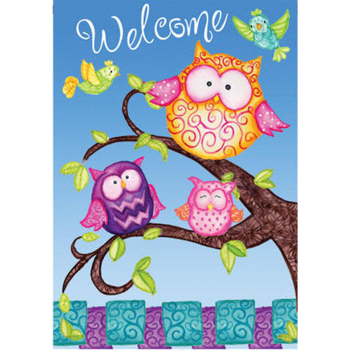 Welcome Owls Double Sided PremierSoft House Flag