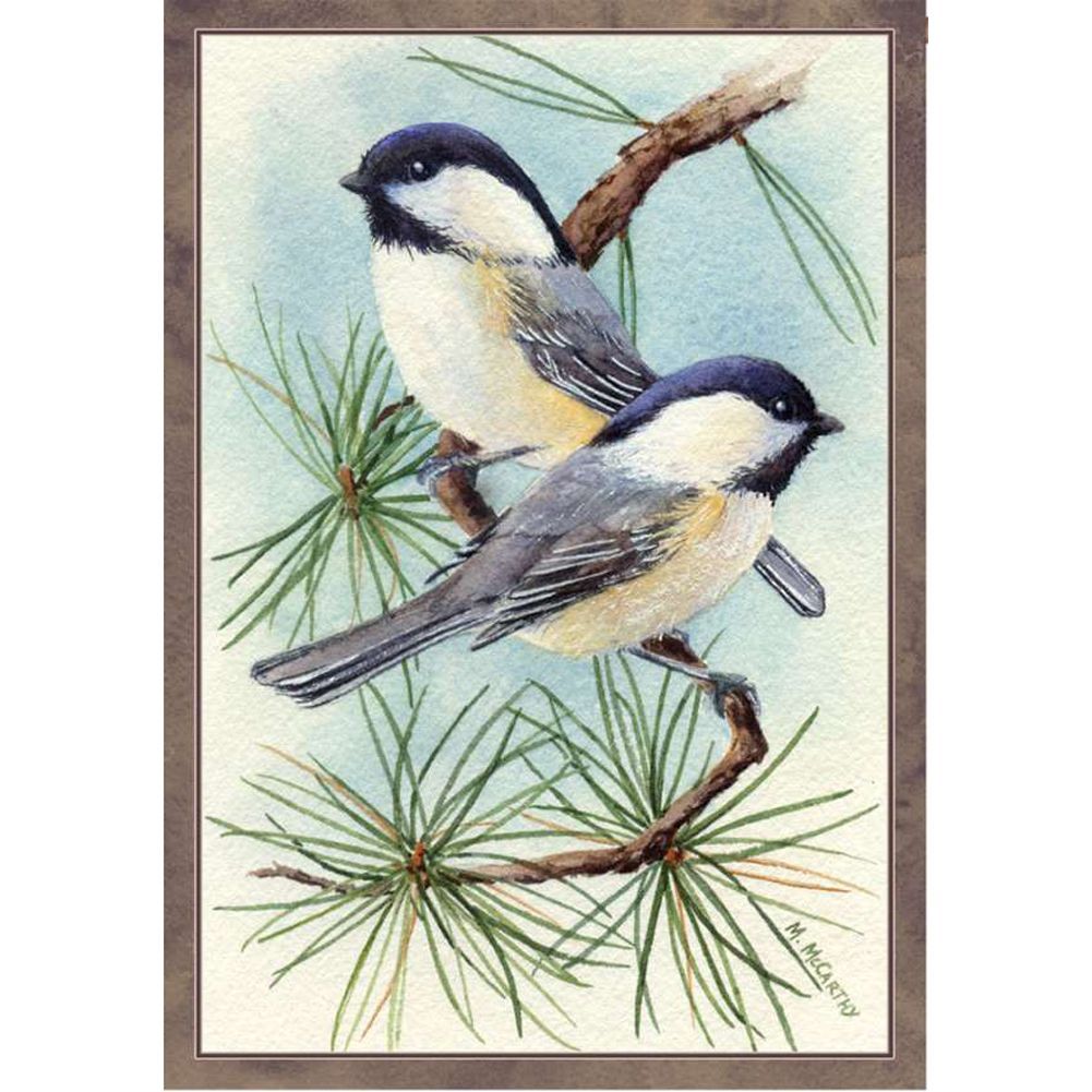 Chickadee Vignette Illuminated House Flag