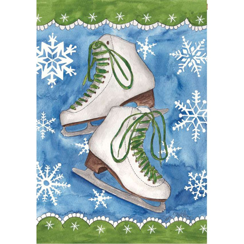 Ice Skates and Snow Illuminated House Flag