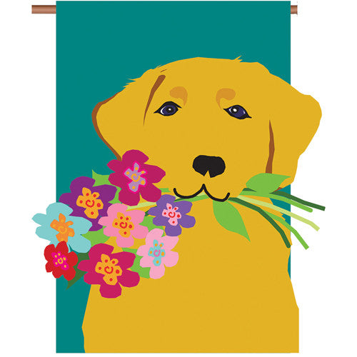 Golden Retriever Double Appliqued House Flag