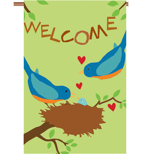 Welcome Bluebirds Double Appliqued House Flag