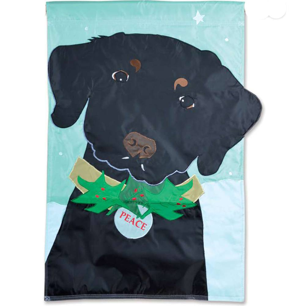 Christmas Black Lab Appliqued House Flag