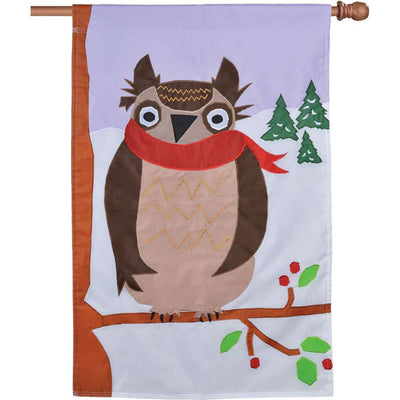 Winter Owl Double Appliqued House Flag