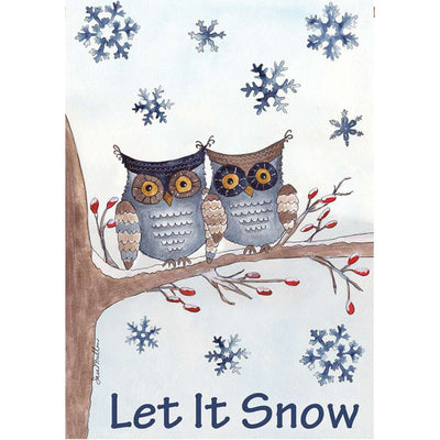 Owls In The Snow PremierSoft Double Sided House Flag