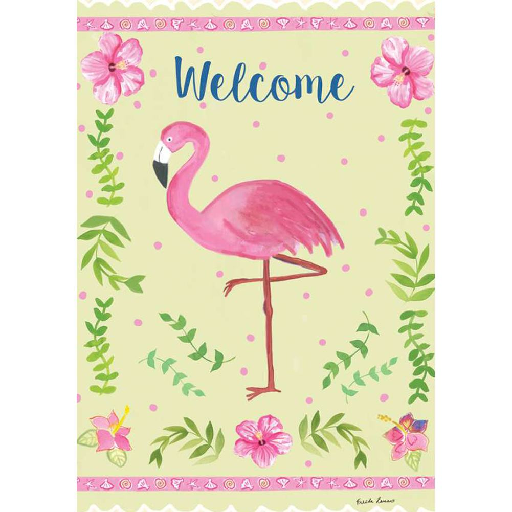 Coastal Flamingo Welcome PremierSoft Double Sided House Flag