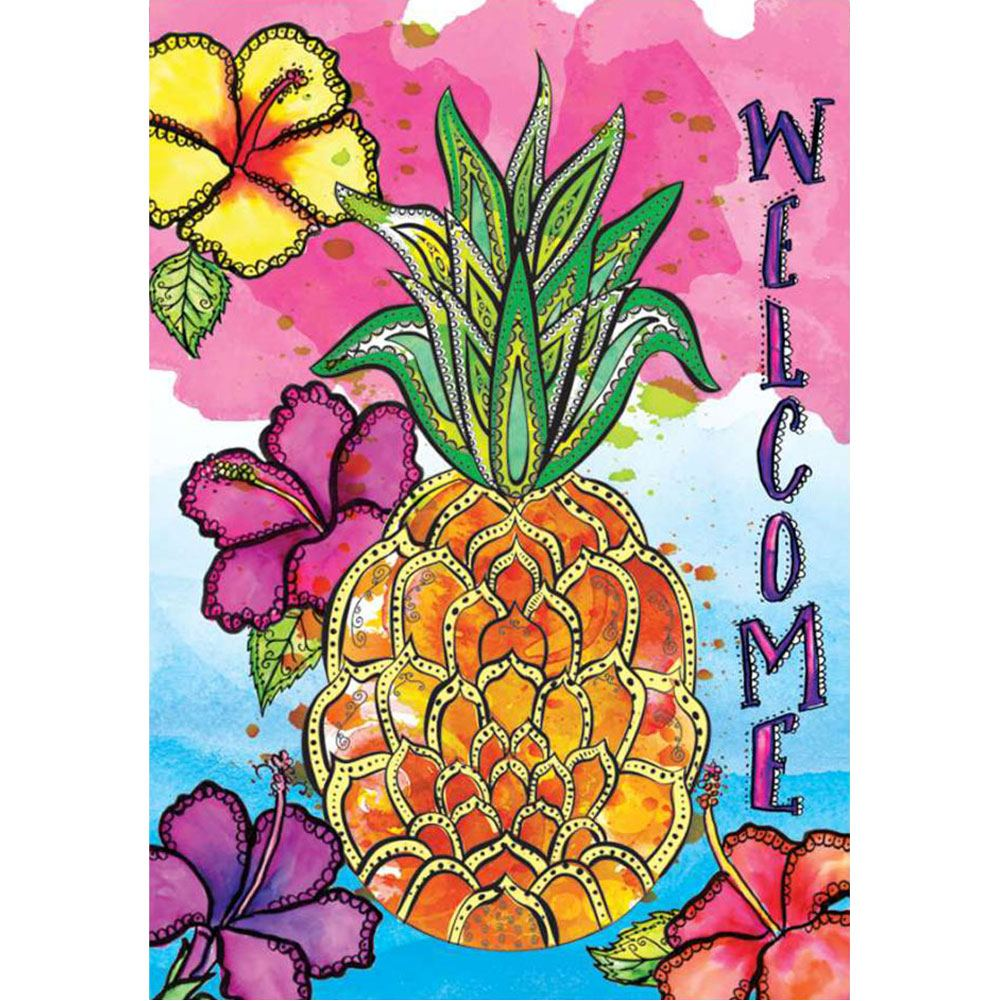 Welcome Pineapple Tropical Illuminated House Flag