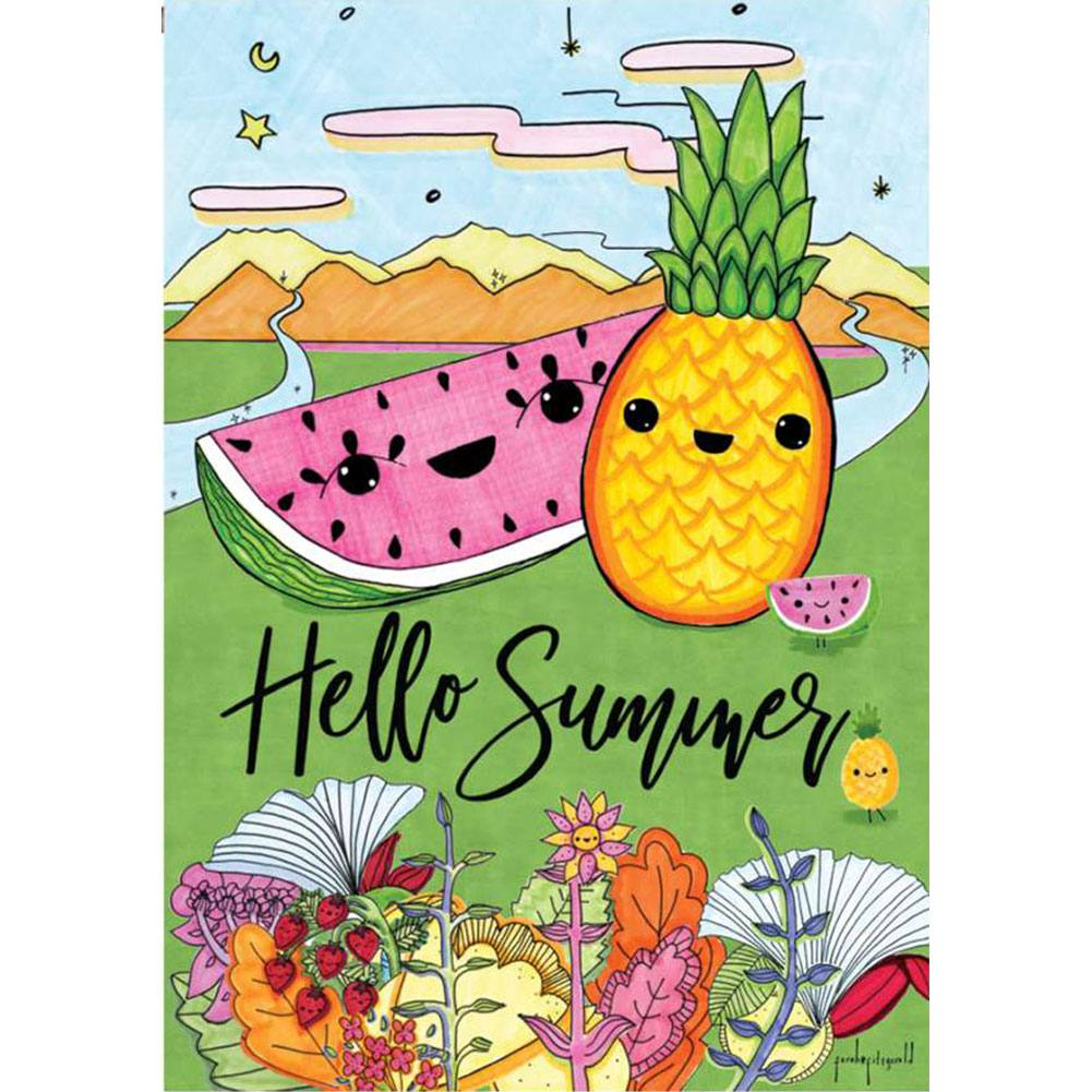 Hello Summer Floral PremierSoft Double Sided House Flag
