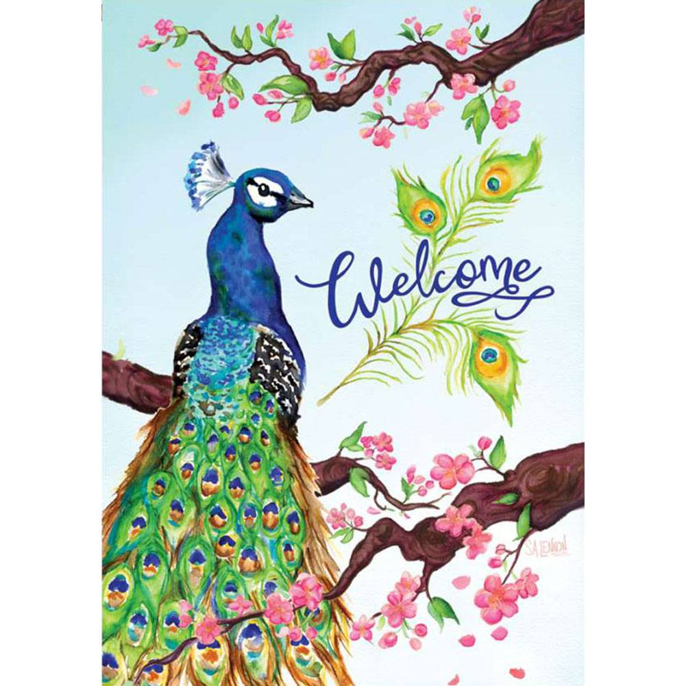 Welcome Peacock PremierSoft Double Sided House Flag