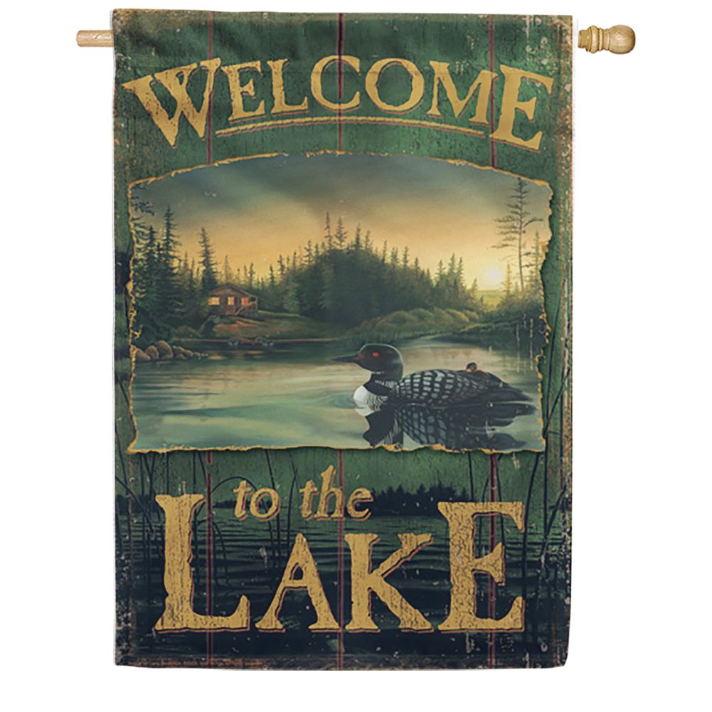 Loon Lake Welcome Decorative House Flag