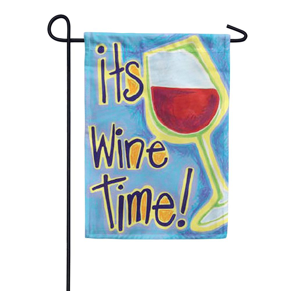 It's Wine Time Garden Flag