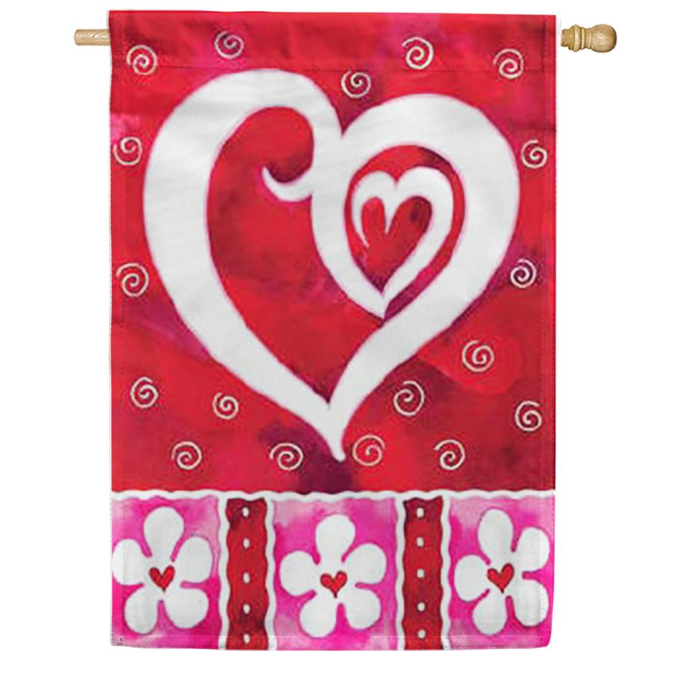 Heart and Flowers House Flag