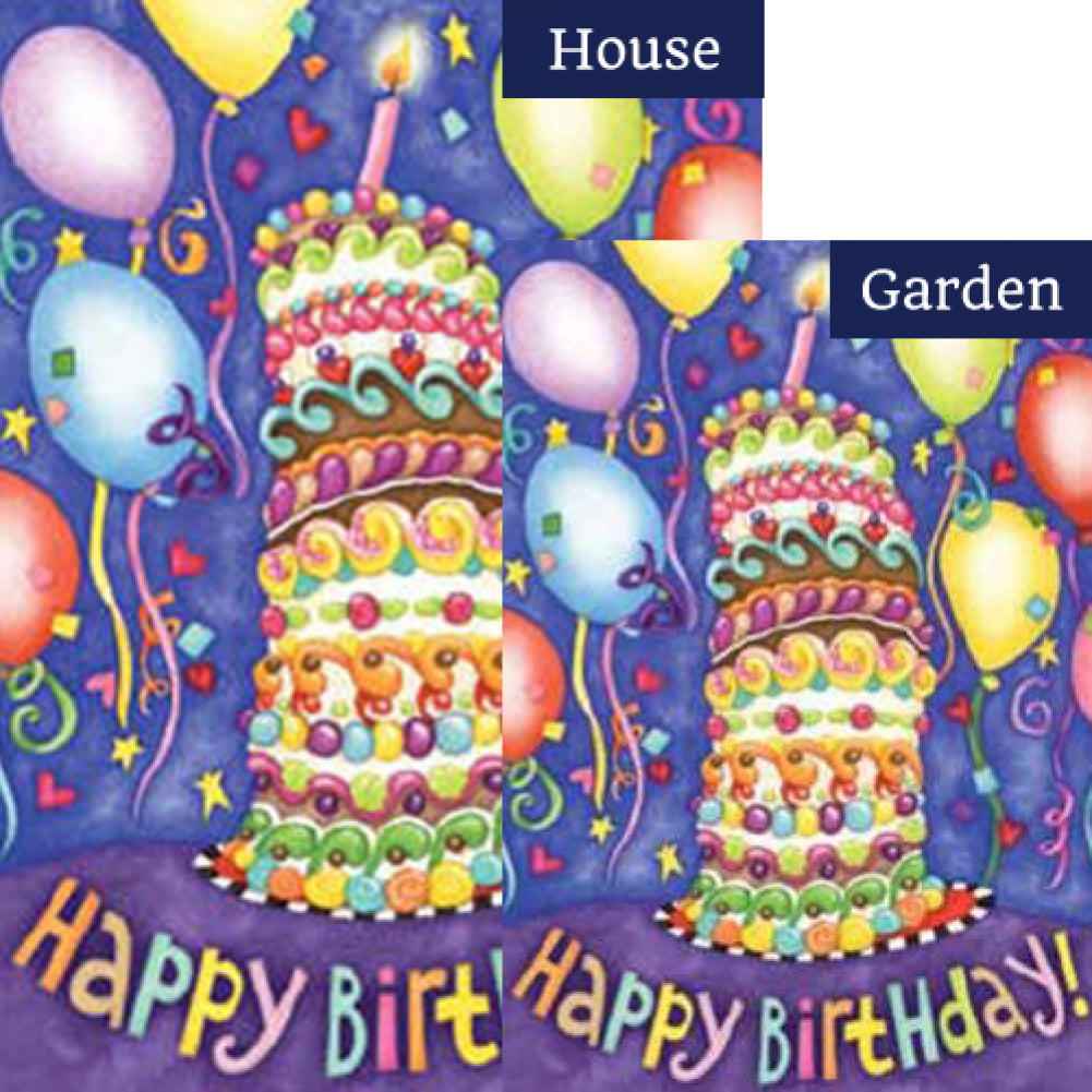 Happy Birthday Cake Balloons Flags Set 2 Pieces
