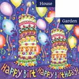 Happy Birthday Cake Balloons Flags Set (2 Pieces)