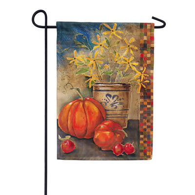 Fall Crock and Pumpkins Garden Flag