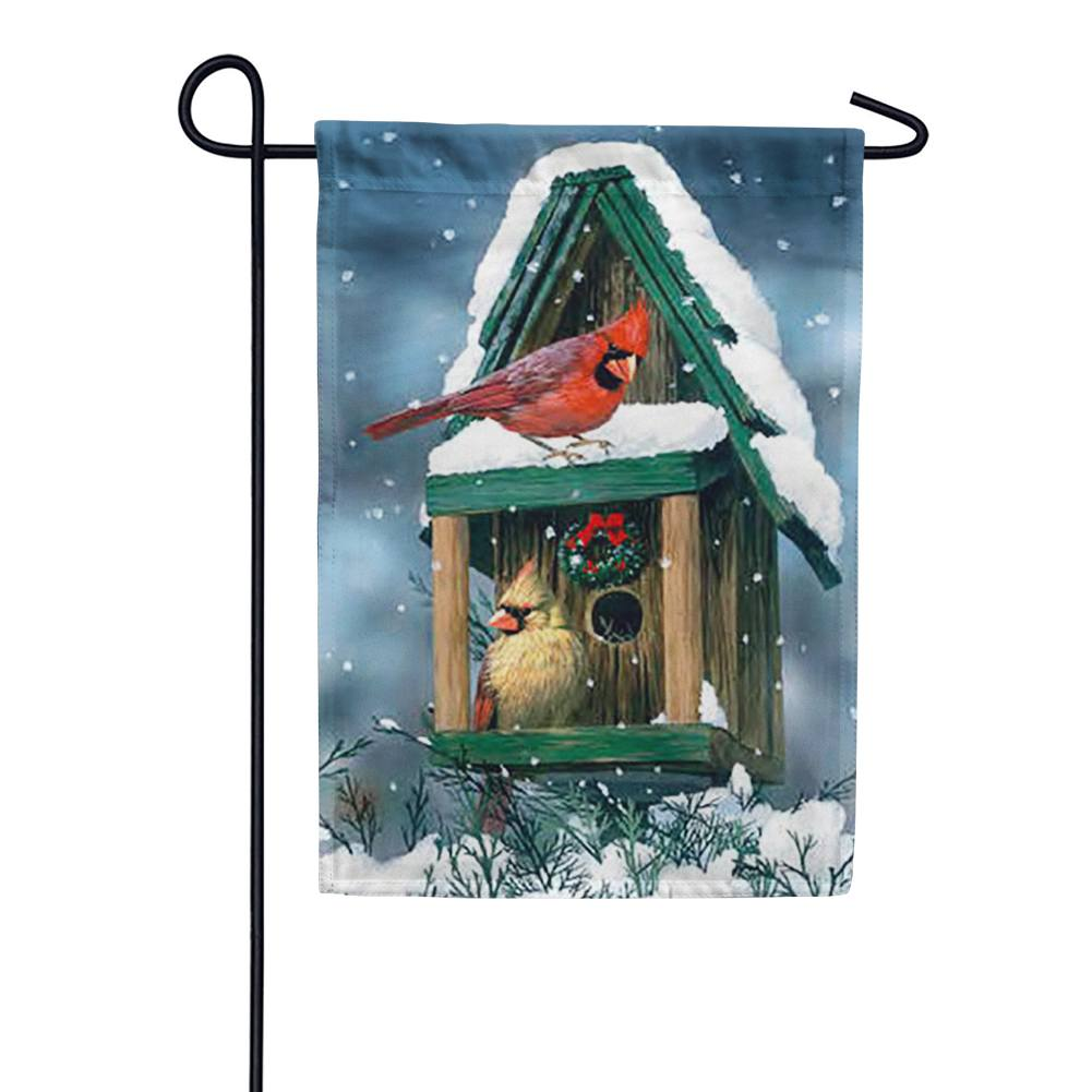 Cardinals in Snow Garden Flag