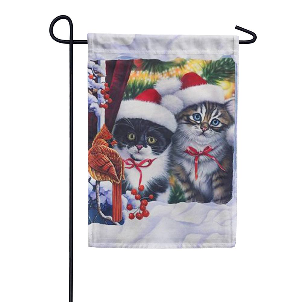 Kittens in Window Garden Flag